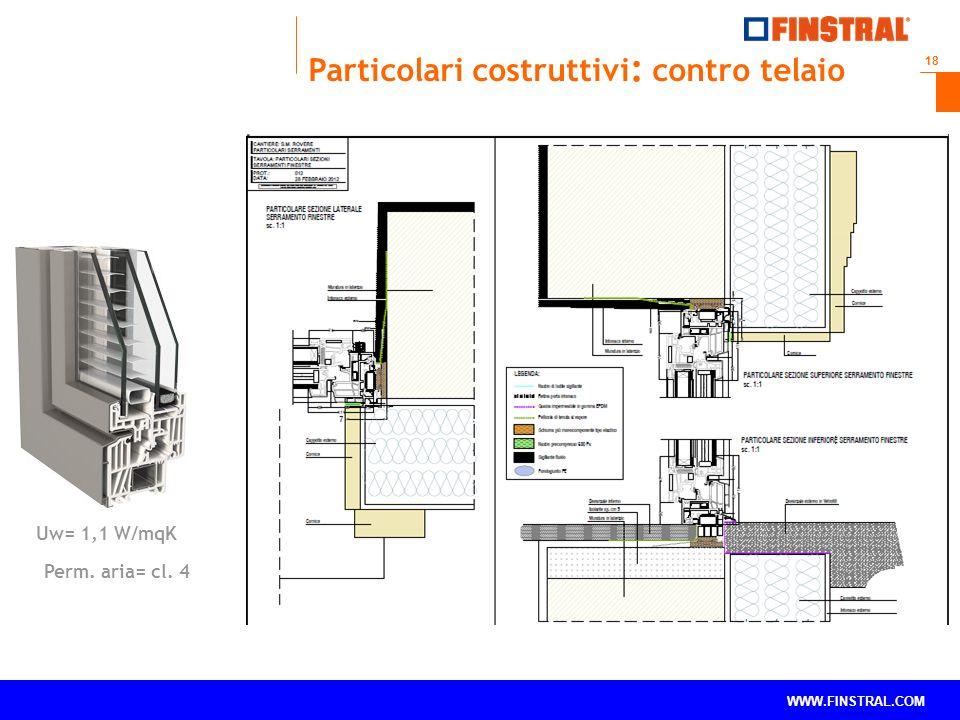 18 www.finstral.com © WWW.FINSTRAL.COM Uw= 1,1 W/mqK Perm. aria= cl. 4 Particolari costruttivi : contro telaio