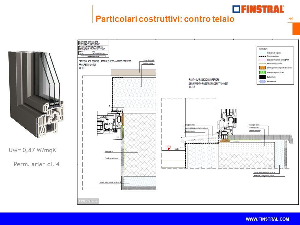 19 www.finstral.com © WWW.FINSTRAL.COM Uw= 0,87 W/mqK Perm. aria= cl. 4 Particolari costruttivi: contro telaio