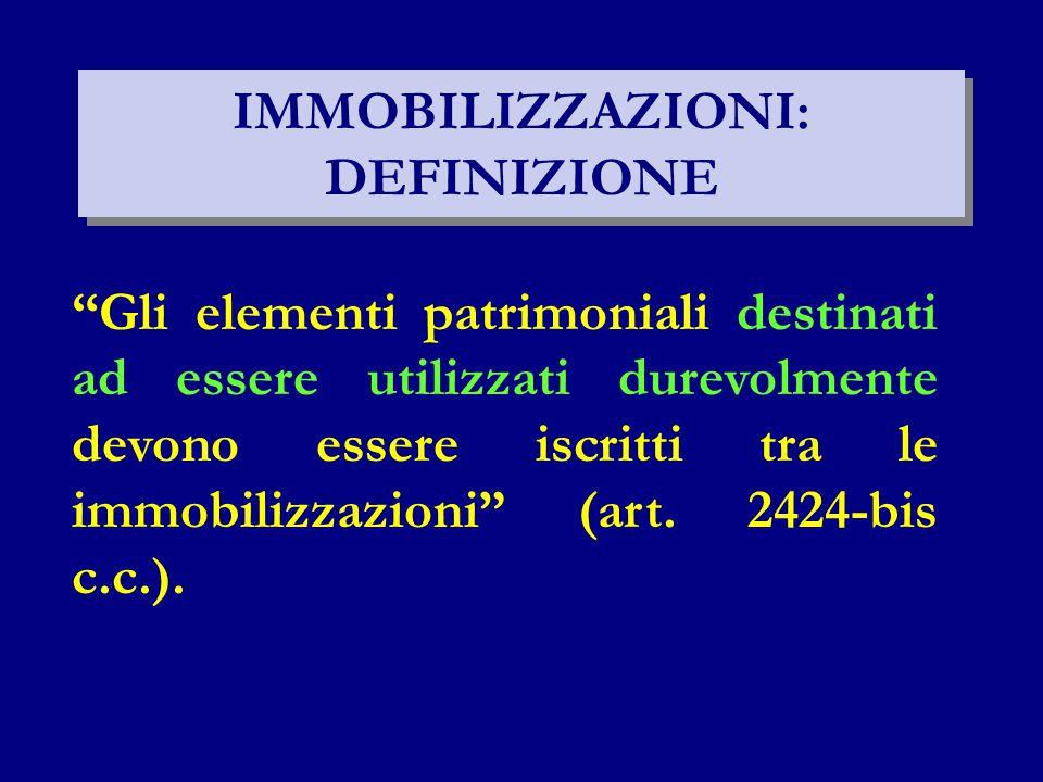 IMMOBILIZZAZIONI: DEFINIZIONE Gli elementi patrimoniali destinati ad essere utilizzati durevolmente devono essere iscritti tra le immobilizzazioni (art.