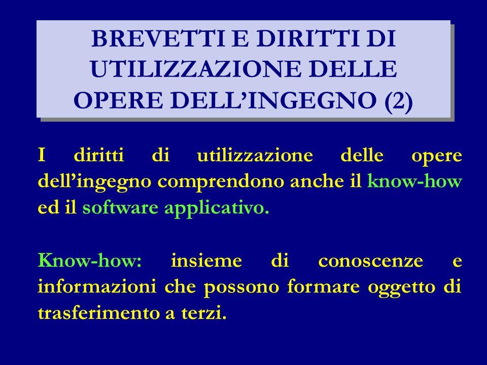 BREVETTI E DIRITTI DI UTILIZZAZIONE DELLE OPERE DELL'INGEGNO (2) I diritti di utilizzazione delle opere dell'ingegno comprendono anche il know-how ed