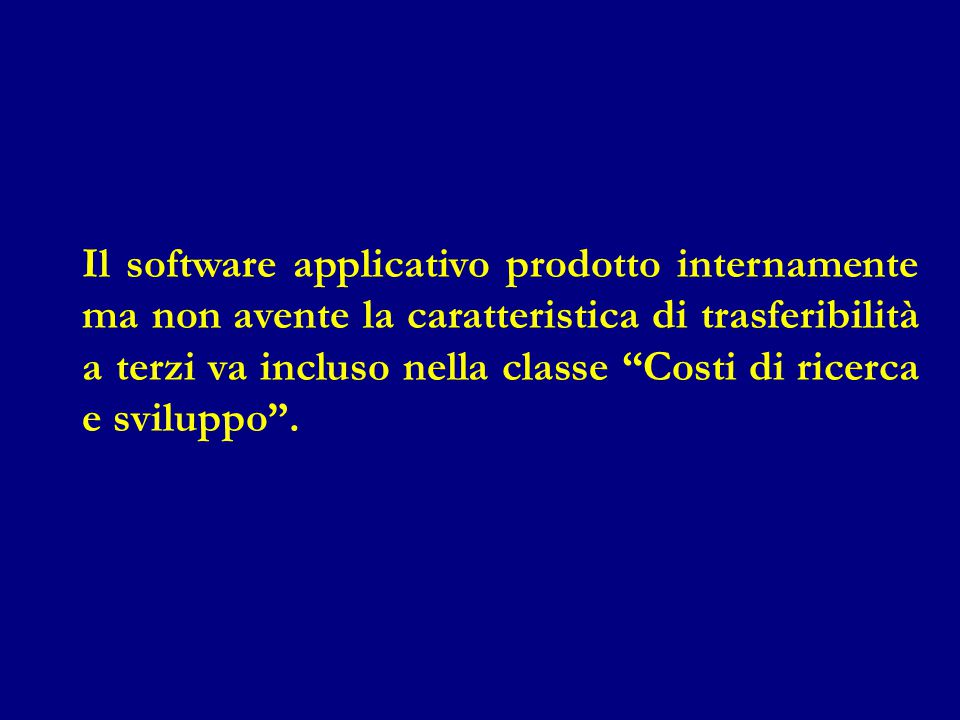 """Il software applicativo prodotto internamente ma non avente la caratteristica di trasferibilità a terzi va incluso nella classe """"Costi di ricerca e sv"""