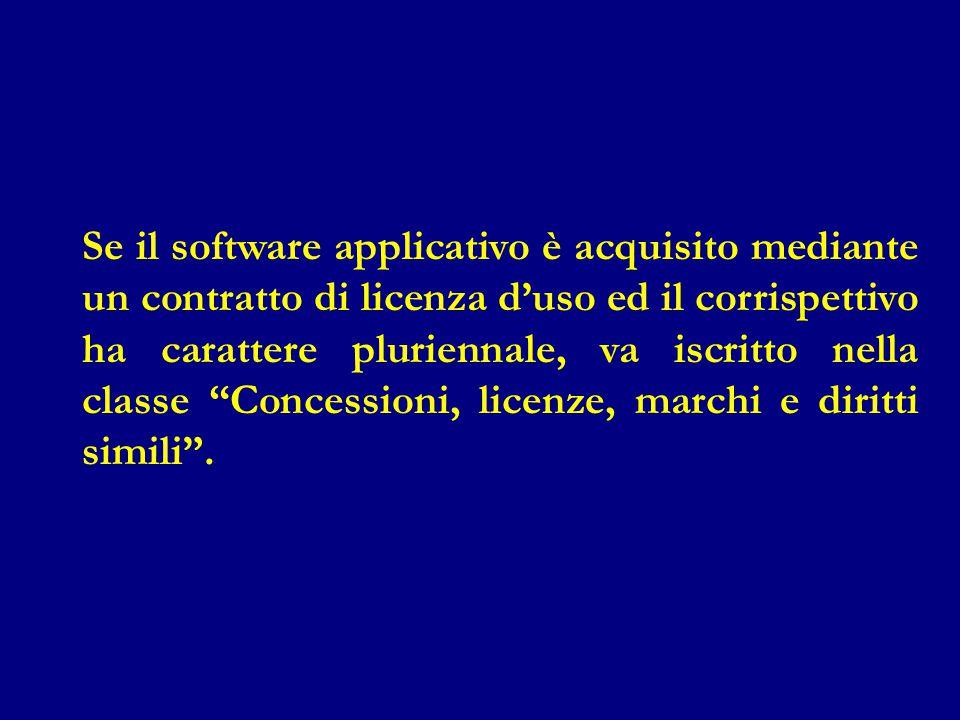 Se il software applicativo è acquisito mediante un contratto di licenza d'uso ed il corrispettivo ha carattere pluriennale, va iscritto nella classe Concessioni, licenze, marchi e diritti simili .