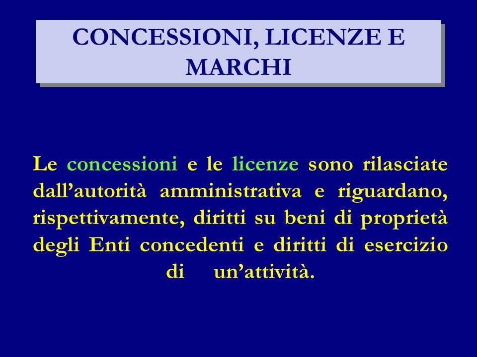 CONCESSIONI, LICENZE E MARCHI Le concessioni e le licenze sono rilasciate dall'autorità amministrativa e riguardano, rispettivamente, diritti su beni