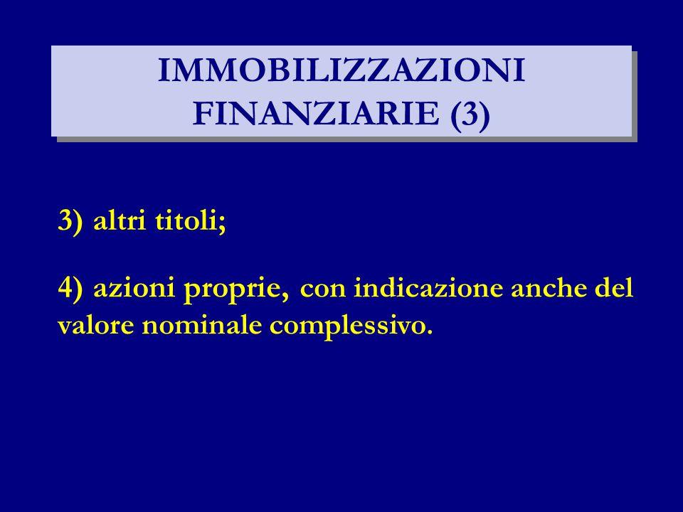 IMMOBILIZZAZIONI FINANZIARIE (3) 3) altri titoli; 4) azioni proprie, con indicazione anche del valore nominale complessivo.