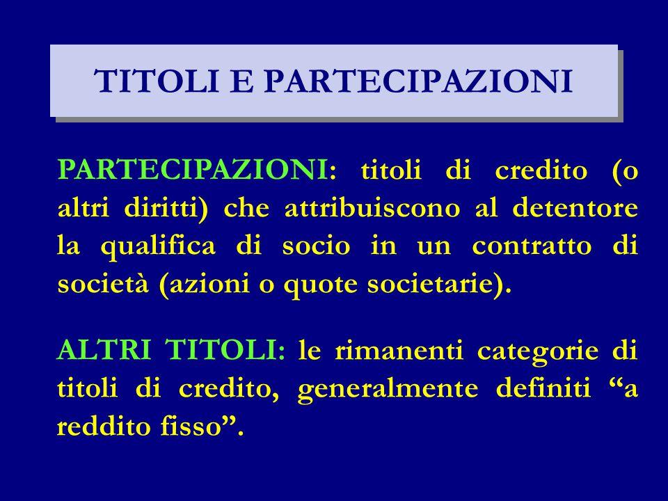 TITOLI E PARTECIPAZIONI PARTECIPAZIONI: titoli di credito (o altri diritti) che attribuiscono al detentore la qualifica di socio in un contratto di società (azioni o quote societarie).