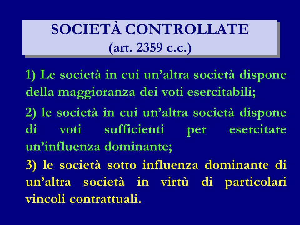 SOCIETÀ CONTROLLATE (art. 2359 c.c.) 1) Le società in cui un'altra società dispone della maggioranza dei voti esercitabili; 2) le società in cui un'al