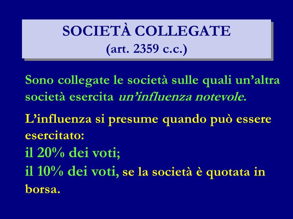 SOCIETÀ COLLEGATE (art. 2359 c.c.) Sono collegate le società sulle quali un'altra società esercita un'influenza notevole. L'influenza si presume quand