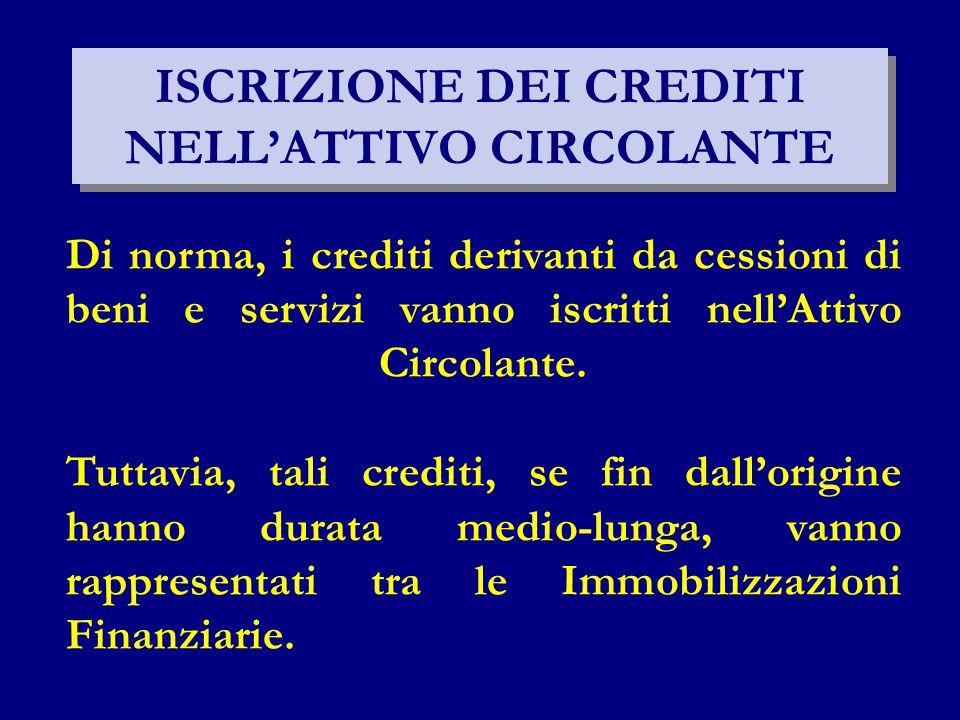 ISCRIZIONE DEI CREDITI NELL'ATTIVO CIRCOLANTE Di norma, i crediti derivanti da cessioni di beni e servizi vanno iscritti nell'Attivo Circolante.