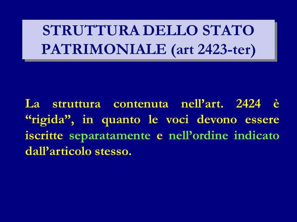 """STRUTTURA DELLO STATO PATRIMONIALE (art 2423-ter) La struttura contenuta nell'art. 2424 è """"rigida"""", in quanto le voci devono essere iscritte separatam"""