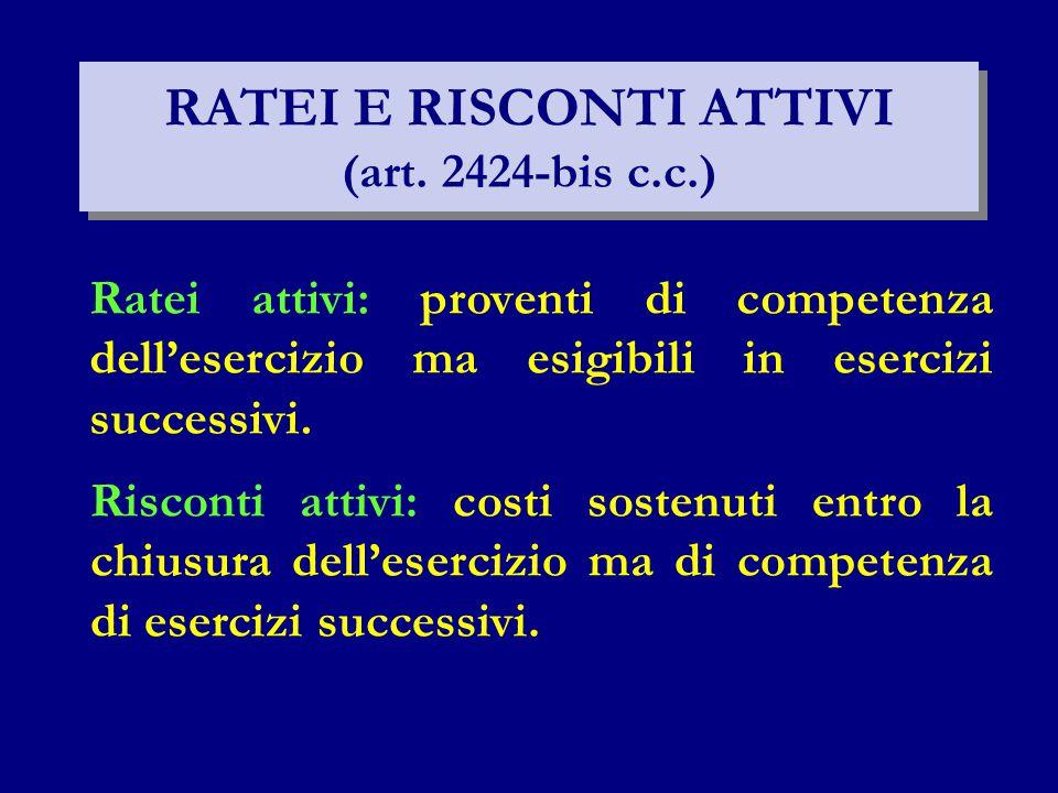 RATEI E RISCONTI ATTIVI (art.