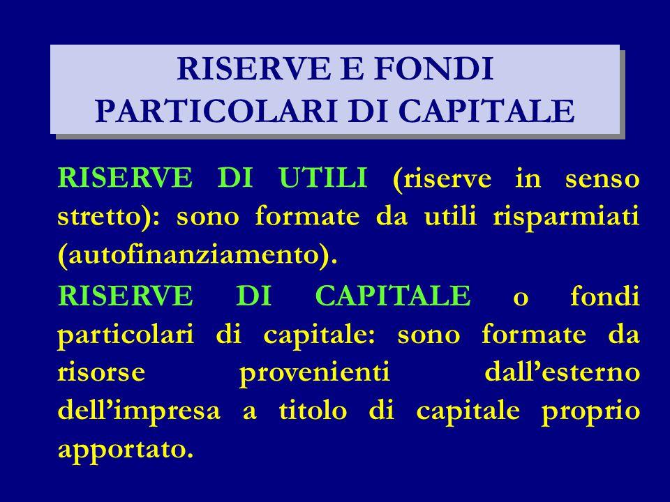 RISERVE E FONDI PARTICOLARI DI CAPITALE RISERVE DI UTILI (riserve in senso stretto): sono formate da utili risparmiati (autofinanziamento). RISERVE DI