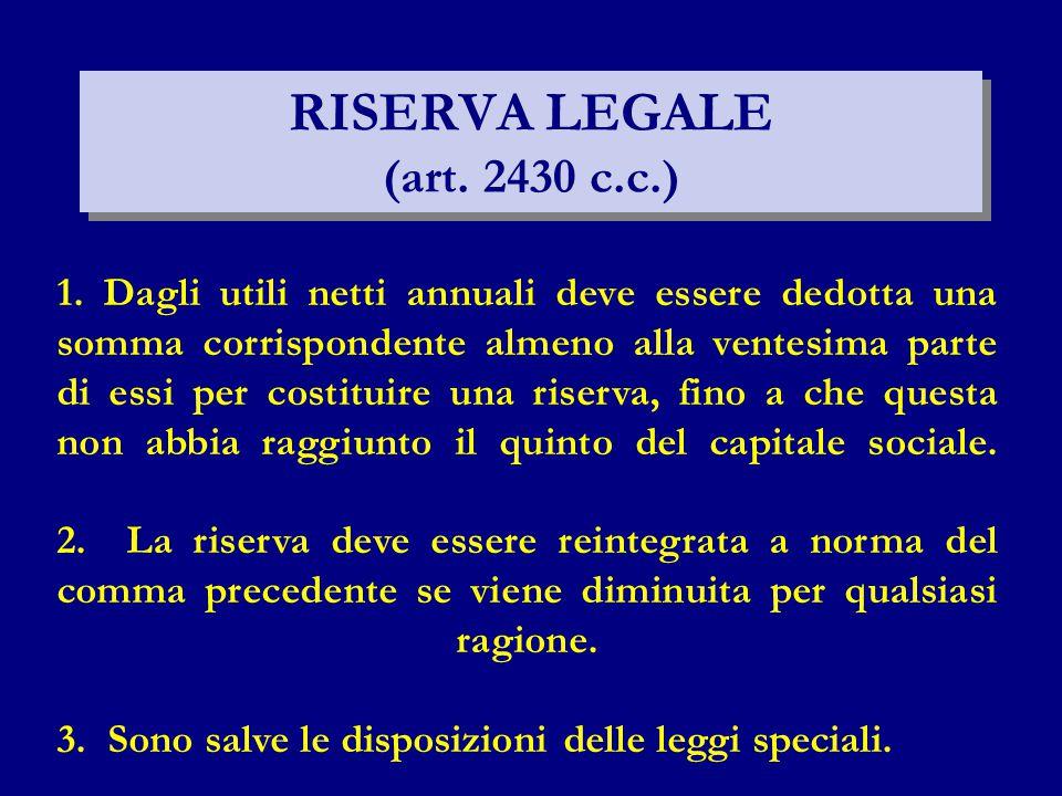 RISERVA LEGALE (art. 2430 c.c.) 1. Dagli utili netti annuali deve essere dedotta una somma corrispondente almeno alla ventesima parte di essi per cost