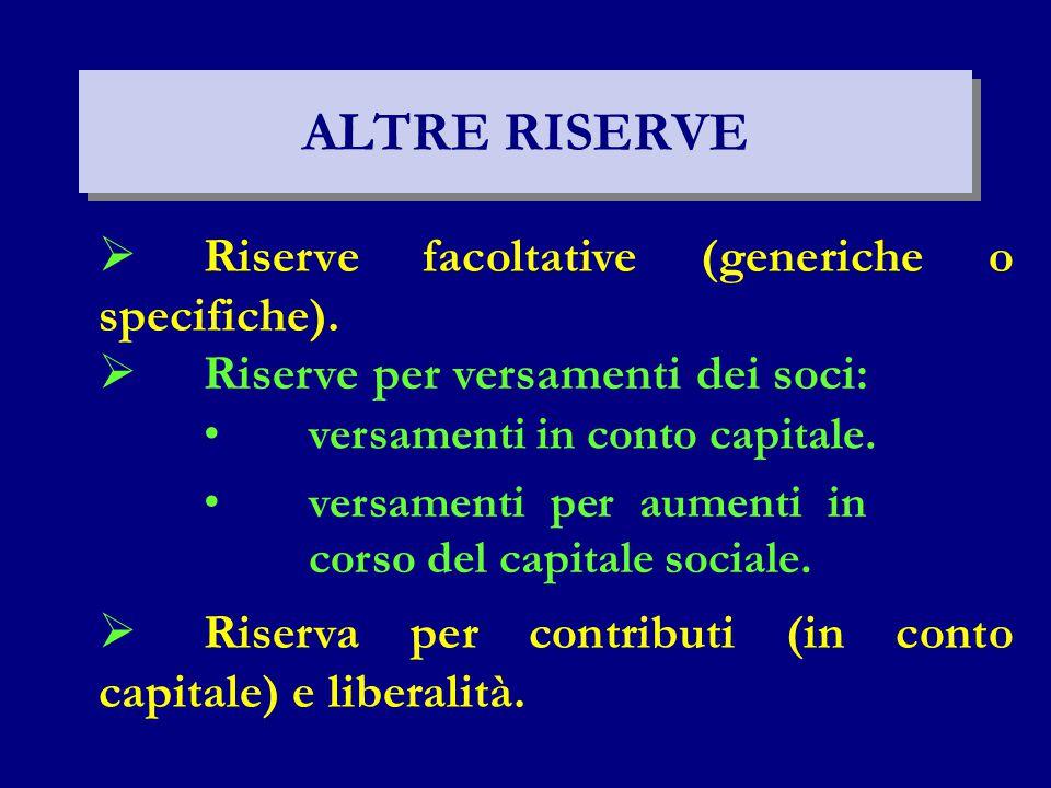 ALTRE RISERVE  Riserve facoltative (generiche o specifiche).  Riserve per versamenti dei soci: versamenti in conto capitale. versamenti per aumenti