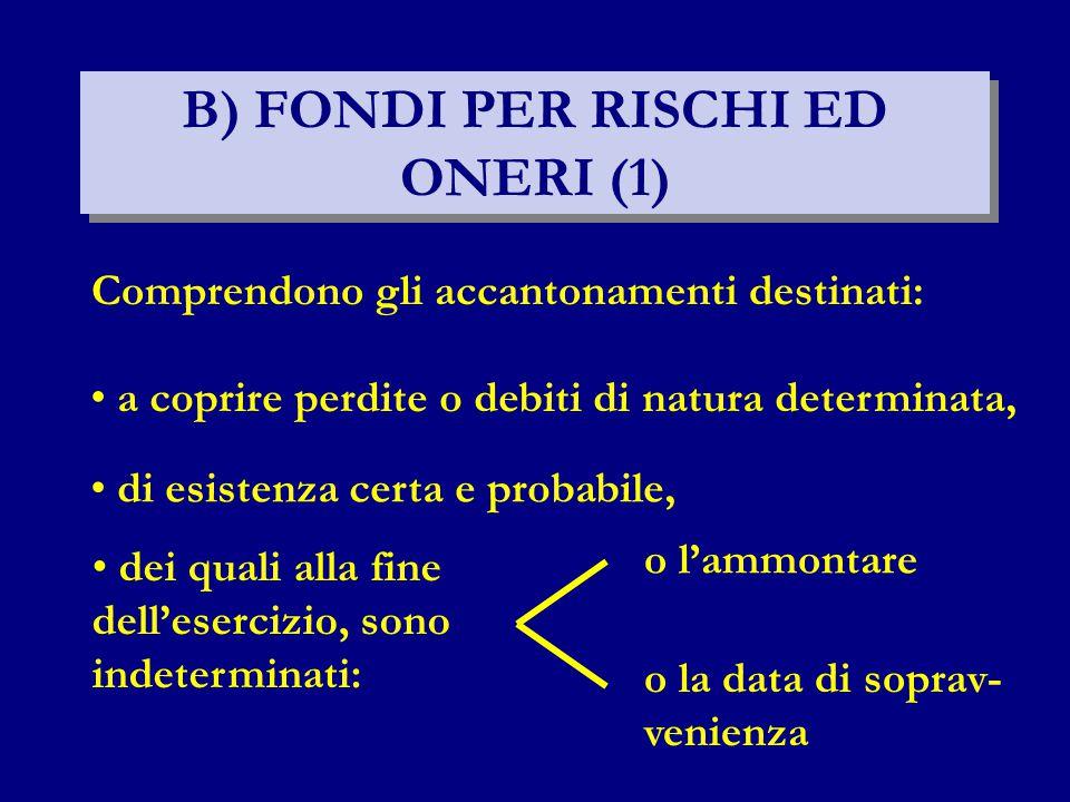 B) FONDI PER RISCHI ED ONERI (1) di esistenza certa e probabile, Comprendono gli accantonamenti destinati: a coprire perdite o debiti di natura determinata, dei quali alla fine dell'esercizio, sono indeterminati: o l'ammontare o la data di soprav- venienza