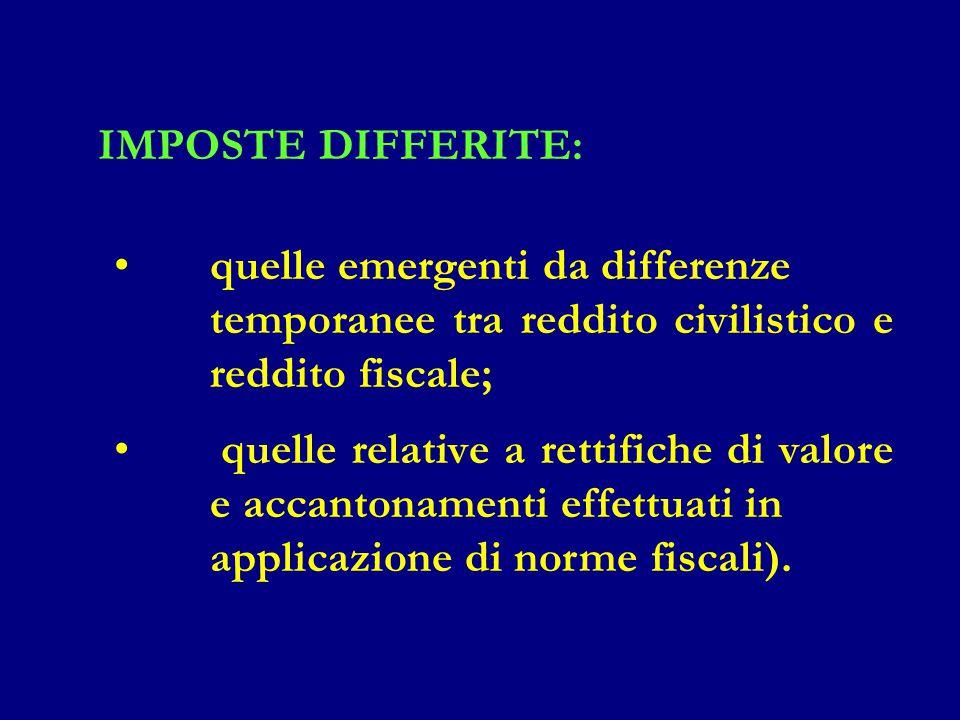 IMPOSTE DIFFERITE: quelle emergenti da differenze temporanee tra reddito civilistico e reddito fiscale; quelle relative a rettifiche di valore e accan