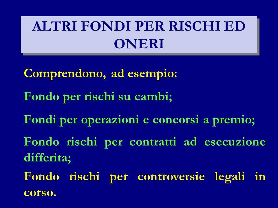 ALTRI FONDI PER RISCHI ED ONERI Fondo per rischi su cambi; Fondi per operazioni e concorsi a premio; Comprendono, ad esempio: Fondo rischi per contratti ad esecuzione differita; Fondo rischi per controversie legali in corso.