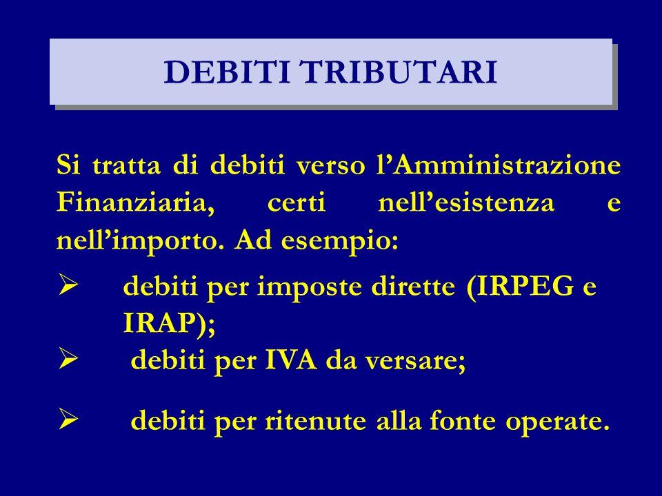 DEBITI TRIBUTARI Si tratta di debiti verso l'Amministrazione Finanziaria, certi nell'esistenza e nell'importo. Ad esempio:  debiti per imposte dirett