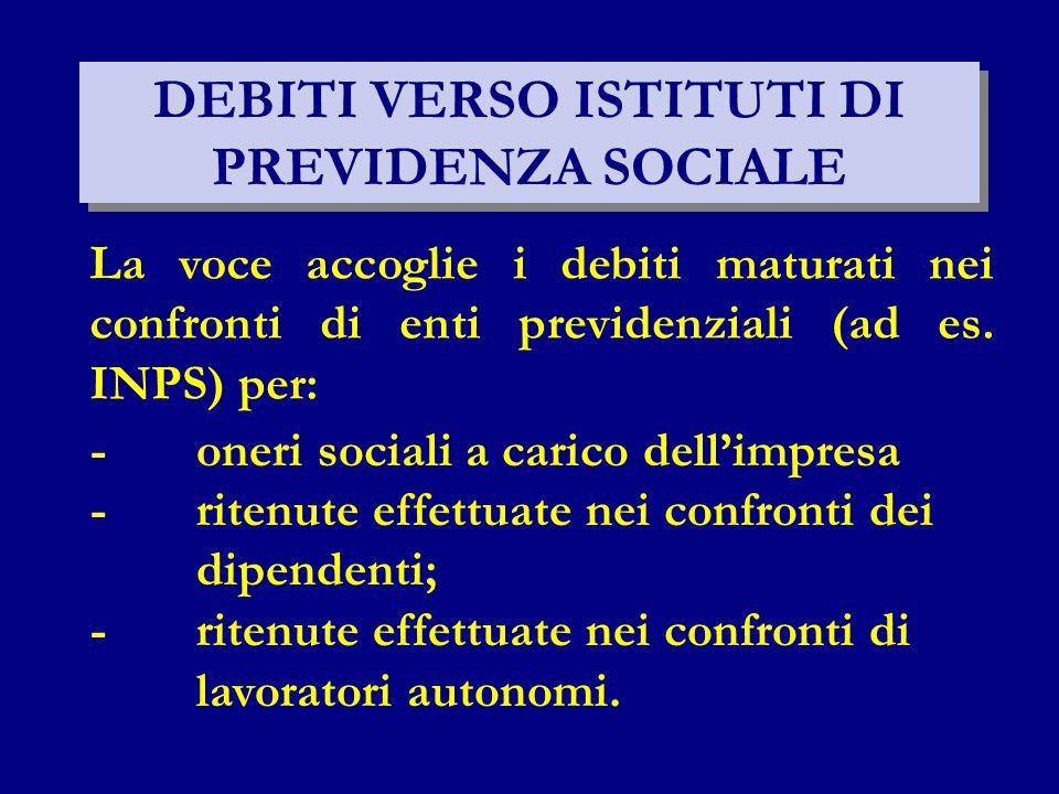 DEBITI VERSO ISTITUTI DI PREVIDENZA SOCIALE La voce accoglie i debiti maturati nei confronti di enti previdenziali (ad es. INPS) per: -oneri sociali a