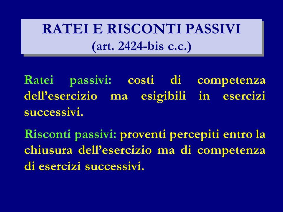 Ratei passivi: costi di competenza dell'esercizio ma esigibili in esercizi successivi. Risconti passivi: proventi percepiti entro la chiusura dell'ese