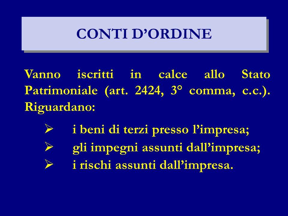 CONTI D'ORDINE Vanno iscritti in calce allo Stato Patrimoniale (art. 2424, 3° comma, c.c.). Riguardano:  i beni di terzi presso l'impresa;  gli impe