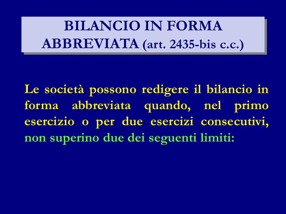 BILANCIO IN FORMA ABBREVIATA (art. 2435-bis c.c.) Le società possono redigere il bilancio in forma abbreviata quando, nel primo esercizio o per due es