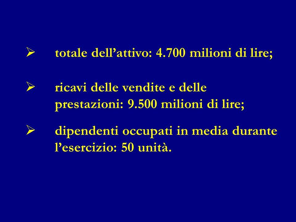  totale dell'attivo: 4.700 milioni di lire;  ricavi delle vendite e delle prestazioni: 9.500 milioni di lire;  dipendenti occupati in media durante l'esercizio: 50 unità.