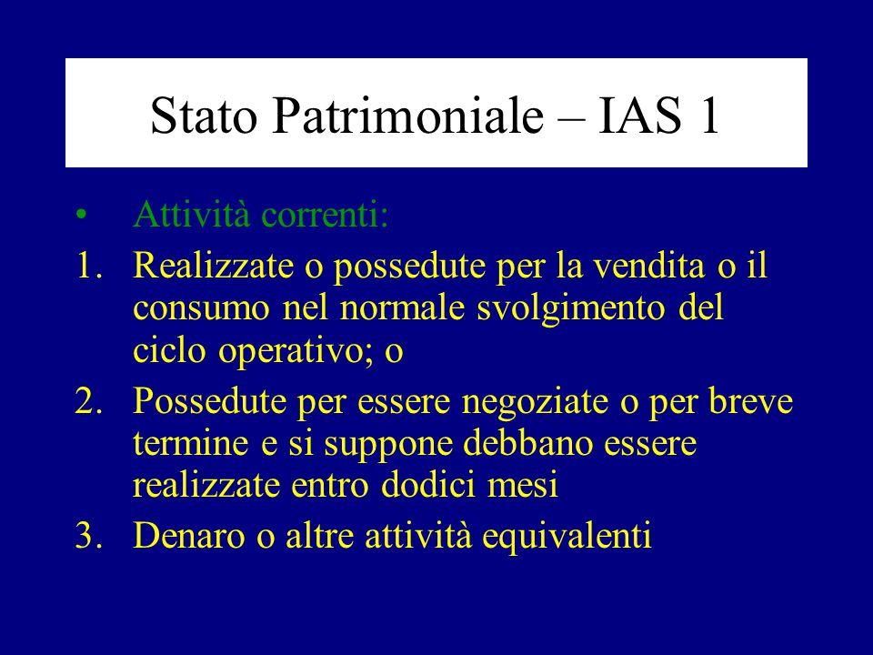 Stato Patrimoniale – IAS 1 Attività correnti: 1.Realizzate o possedute per la vendita o il consumo nel normale svolgimento del ciclo operativo; o 2.Po