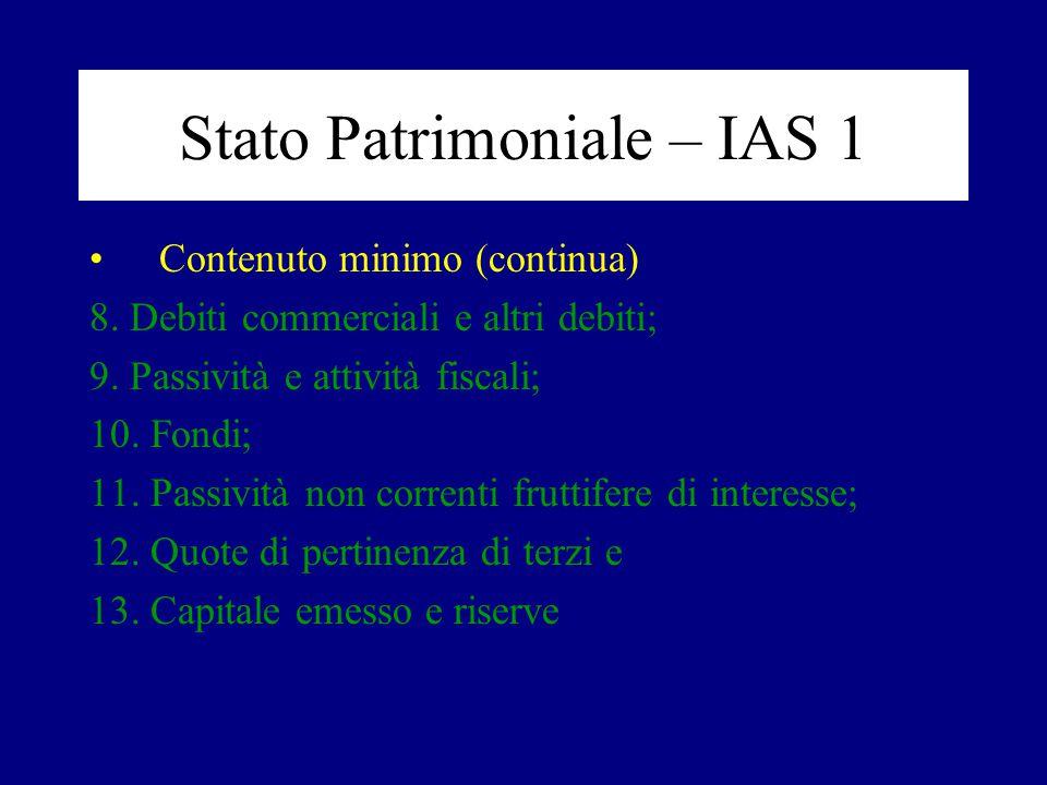 Stato Patrimoniale – IAS 1 Contenuto minimo (continua) 8. Debiti commerciali e altri debiti; 9. Passività e attività fiscali; 10. Fondi; 11. Passività