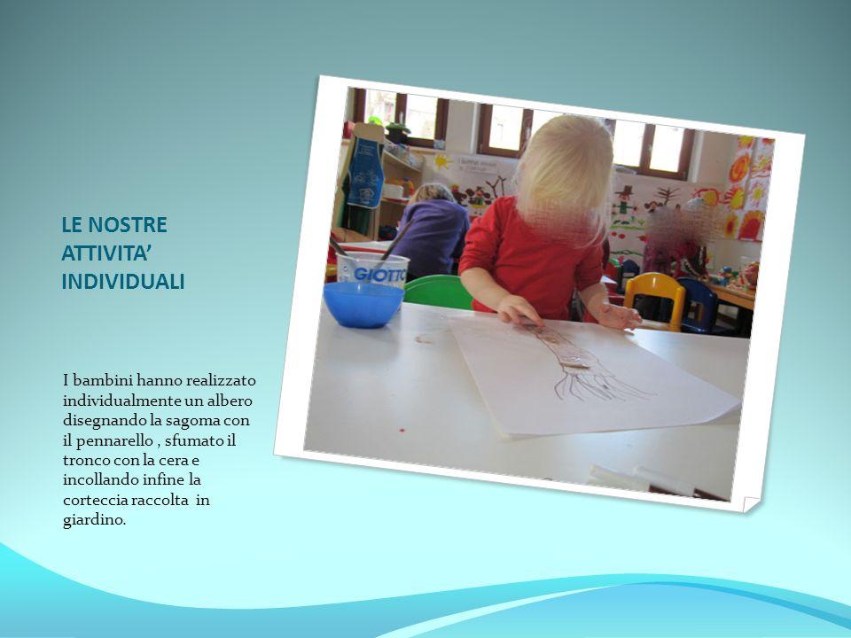 LE NOSTRE ATTIVITA' INDIVIDUALI I bambini hanno realizzato individualmente un albero disegnando la sagoma con il pennarello, sfumato il tronco con la
