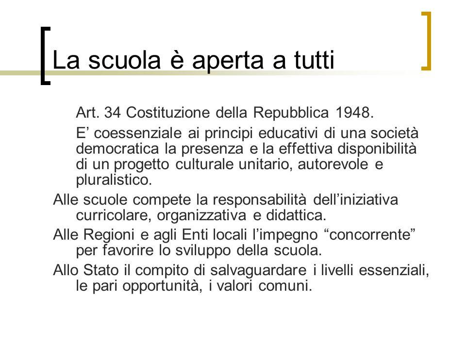 La scuola è aperta a tutti Art. 34 Costituzione della Repubblica 1948. E' coessenziale ai principi educativi di una società democratica la presenza e