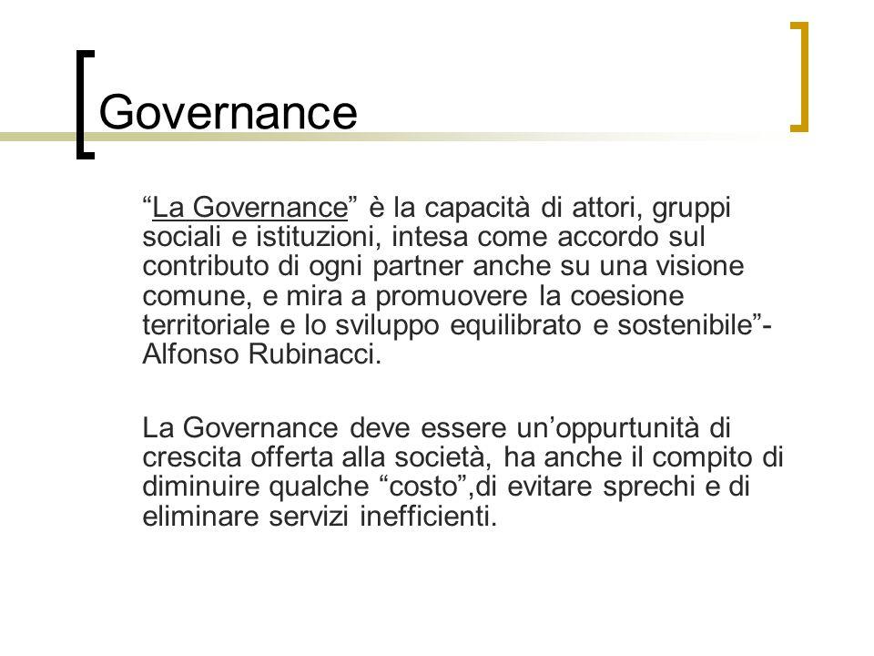 Governance La Governance è la capacità di attori, gruppi sociali e istituzioni, intesa come accordo sul contributo di ogni partner anche su una visione comune, e mira a promuovere la coesione territoriale e lo sviluppo equilibrato e sostenibile - Alfonso Rubinacci.