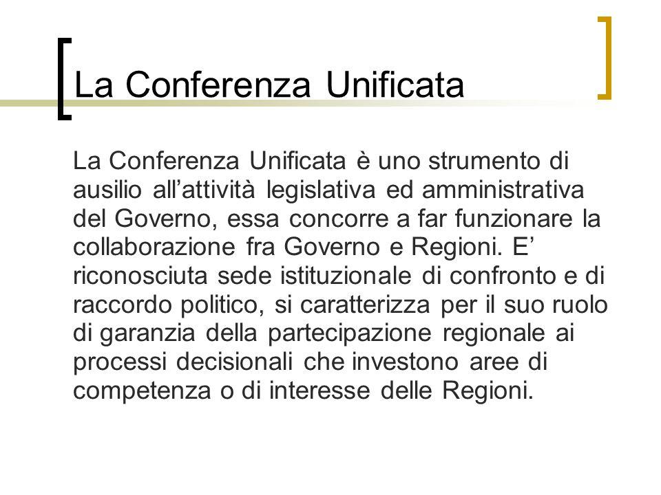La Conferenza Unificata La Conferenza Unificata è uno strumento di ausilio all'attività legislativa ed amministrativa del Governo, essa concorre a far funzionare la collaborazione fra Governo e Regioni.