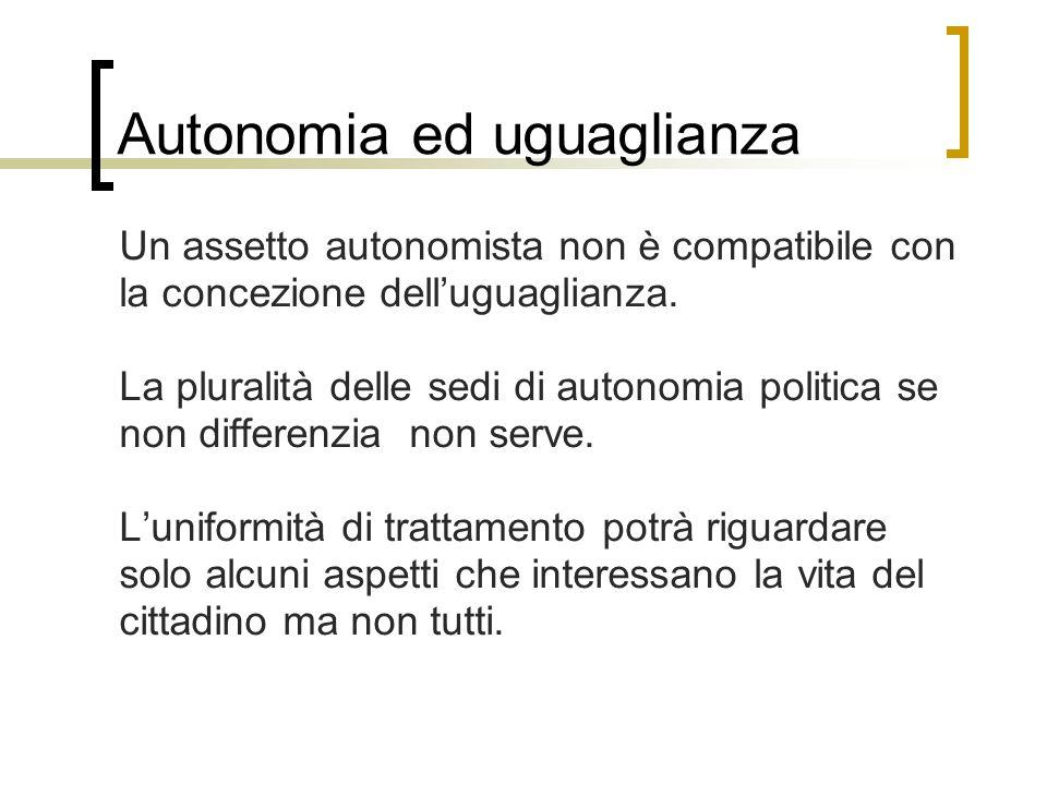 Autonomia ed uguaglianza Un assetto autonomista non è compatibile con la concezione dell'uguaglianza. La pluralità delle sedi di autonomia politica se