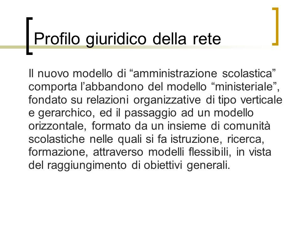 """Profilo giuridico della rete Il nuovo modello di """"amministrazione scolastica"""" comporta l'abbandono del modello """"ministeriale"""", fondato su relazioni or"""