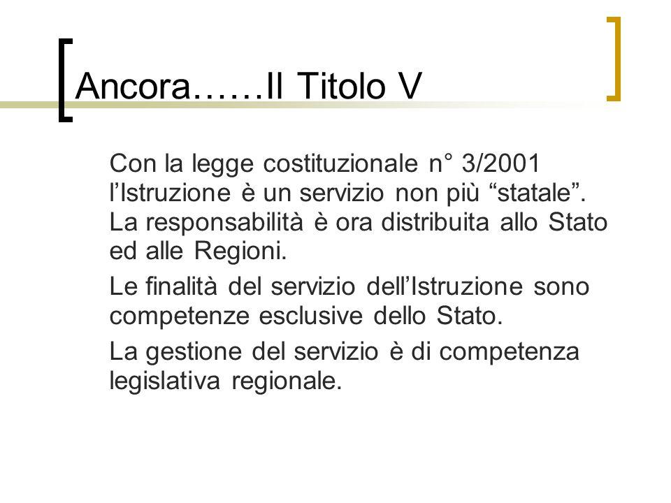 """Ancora……Il Titolo V Con la legge costituzionale n° 3/2001 l'Istruzione è un servizio non più """"statale"""". La responsabilità è ora distribuita allo Stato"""