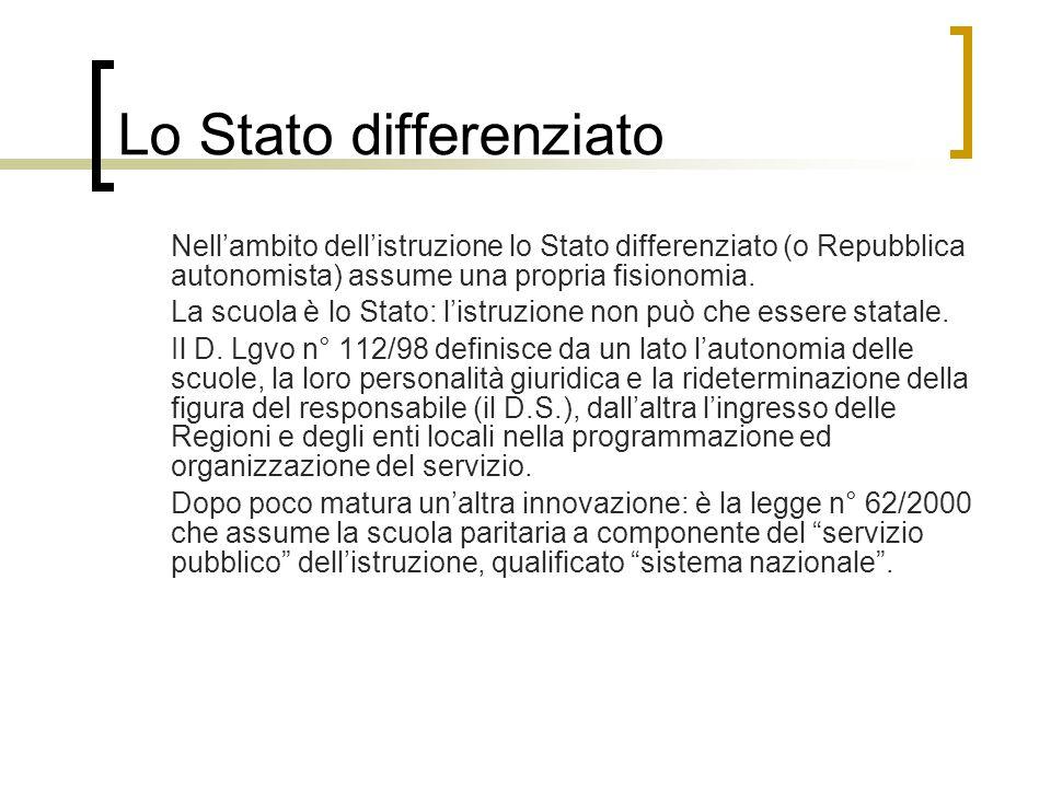 Lo Stato differenziato Nell'ambito dell'istruzione lo Stato differenziato (o Repubblica autonomista) assume una propria fisionomia.