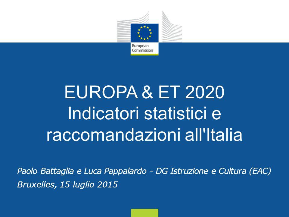 Date: in 12 pts EUROPA & ET 2020 Indicatori statistici e raccomandazioni all Italia Paolo Battaglia e Luca Pappalardo - DG Istruzione e Cultura (EAC) Bruxelles, 15 luglio 2015