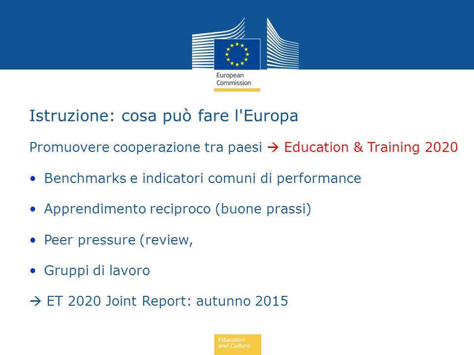 Education and Culture Promuovere cooperazione tra paesi  Education & Training 2020 Benchmarks e indicatori comuni di performance Apprendimento recipr