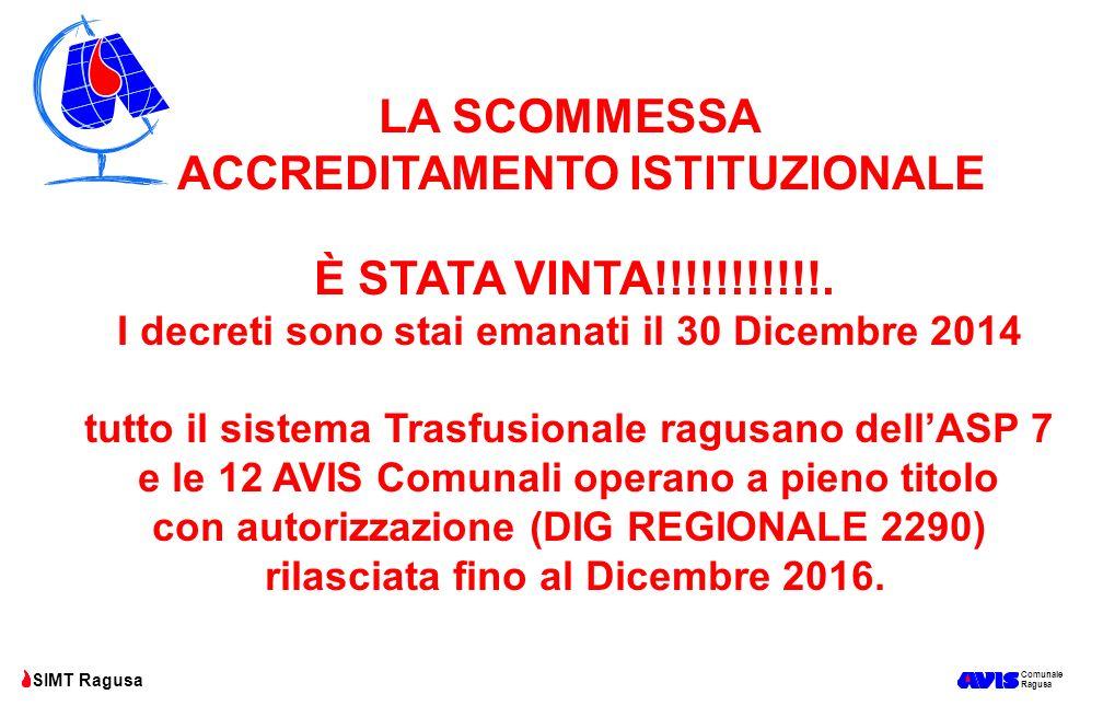 Comunale Ragusa SIMT Ragusa LA SCOMMESSA ACCREDITAMENTO ISTITUZIONALE È STATA VINTA!!!!!!!!!!!. I decreti sono stai emanati il 30 Dicembre 2014 tutto