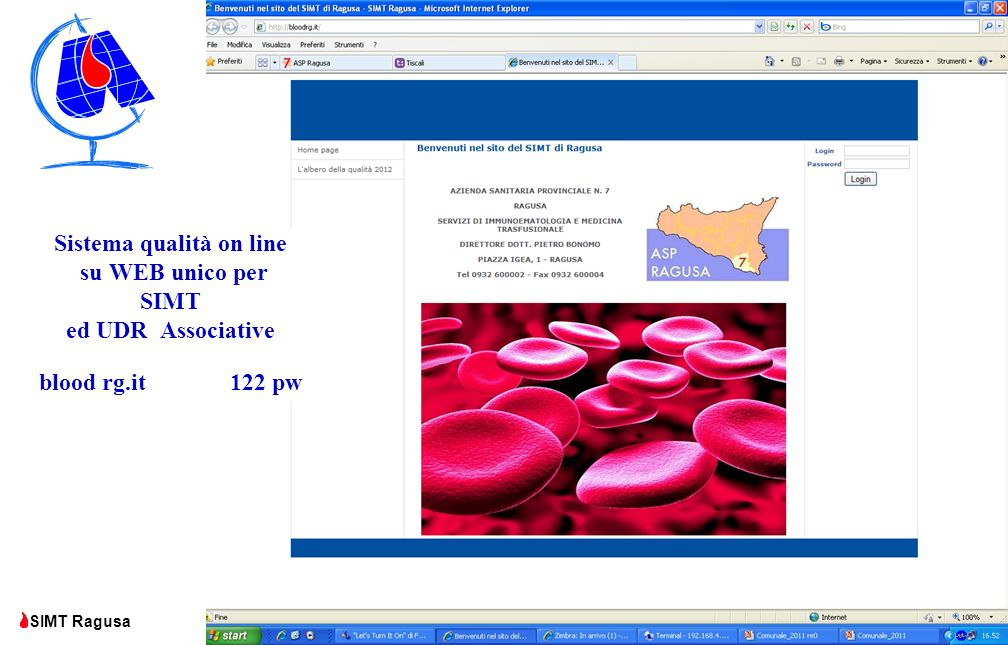 Comunale Ragusa SIMT Ragusa Sistema qualità on line su WEB unico per SIMT ed UDR Associative blood rg.it 122 pw