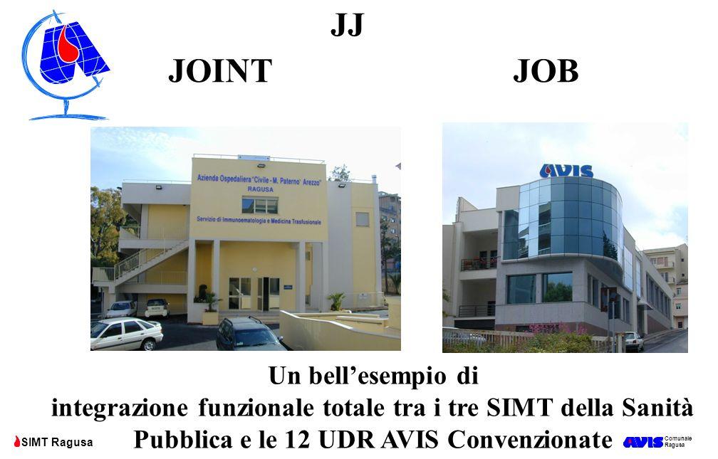 Comunale Ragusa SIMT Ragusa JOINTJOB JJ Un bell'esempio di integrazione funzionale totale tra i tre SIMT della Sanità Pubblica e le 12 UDR AVIS Conven