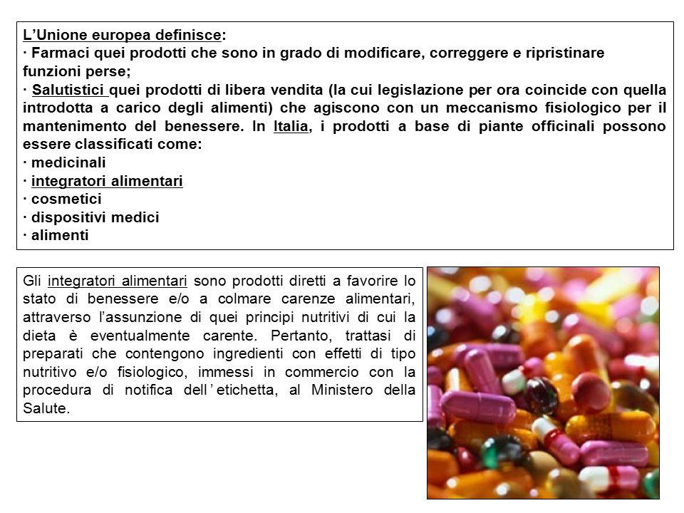 L'Unione europea definisce: · Farmaci quei prodotti che sono in grado di modificare, correggere e ripristinare funzioni perse; · Salutistici quei prod