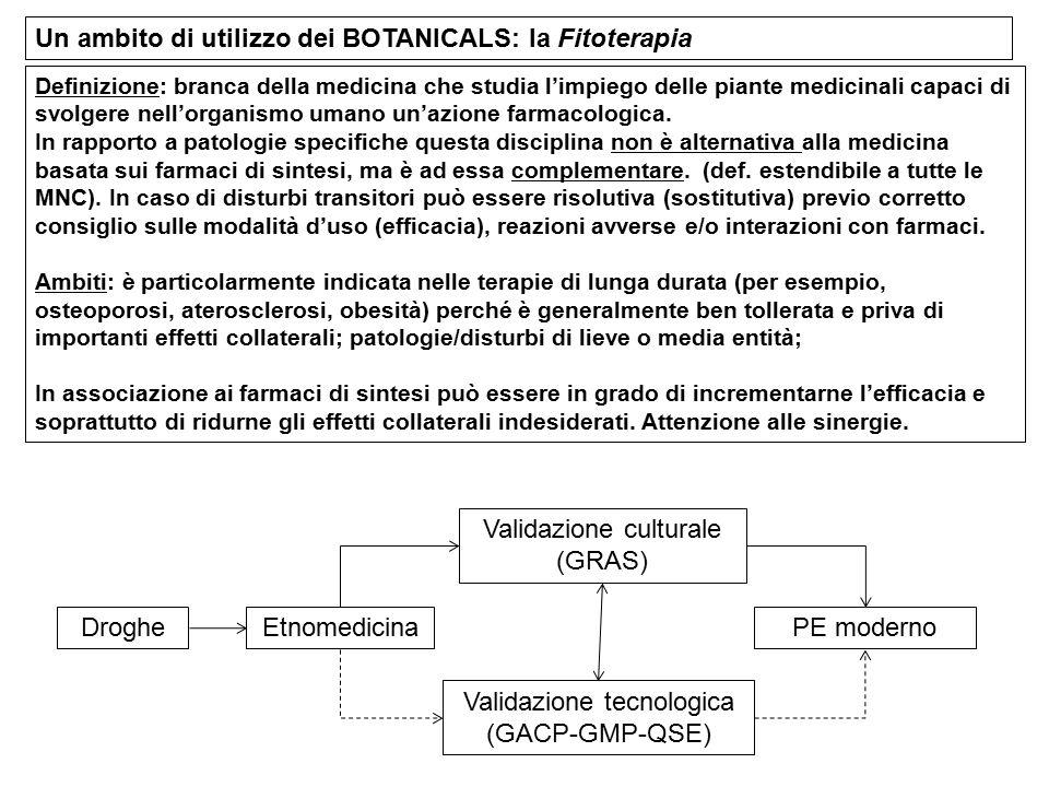 Un ambito di utilizzo dei BOTANICALS: la Fitoterapia Definizione: branca della medicina che studia l'impiego delle piante medicinali capaci di svolger