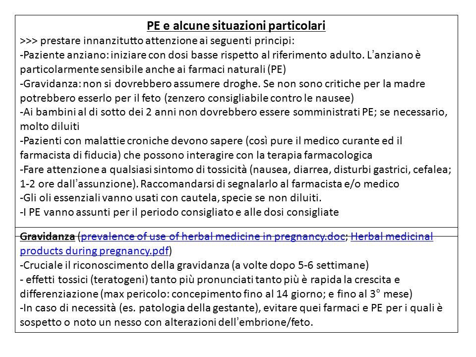 PE e alcune situazioni particolari >>> prestare innanzitutto attenzione ai seguenti principi: -Paziente anziano: iniziare con dosi basse rispetto al r