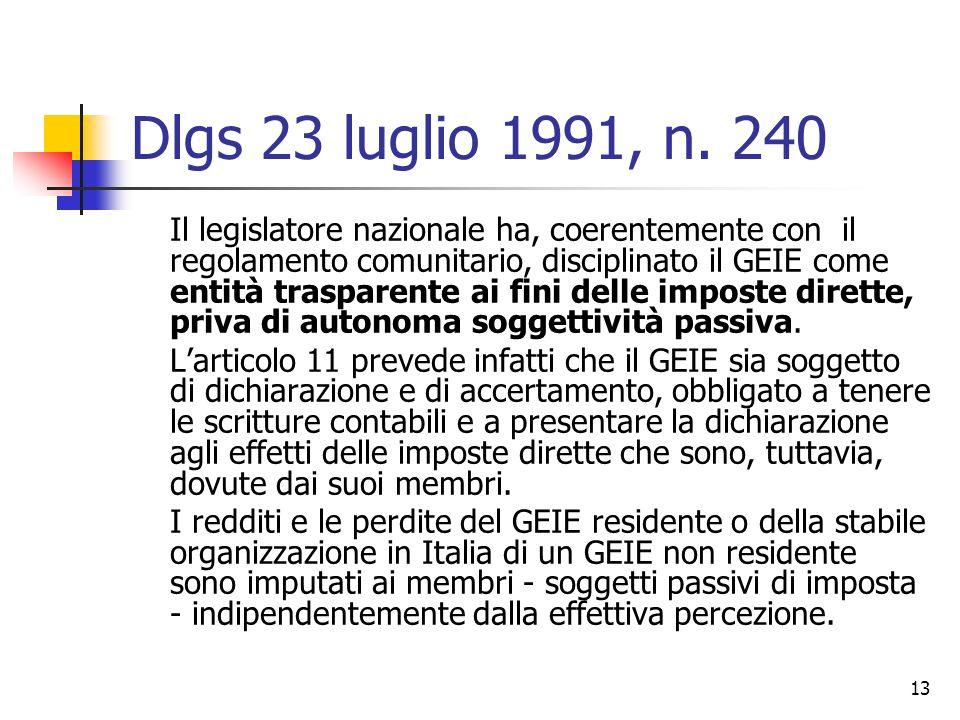 13 Dlgs 23 luglio 1991, n. 240 Il legislatore nazionale ha, coerentemente con il regolamento comunitario, disciplinato il GEIE come entità trasparente