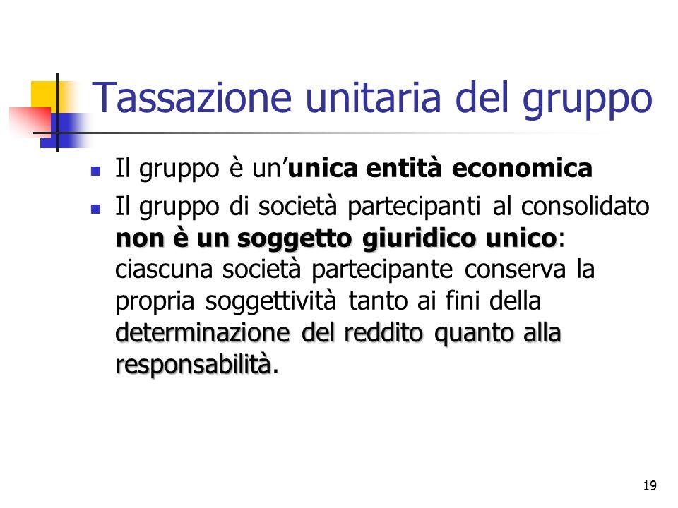 19 Tassazione unitaria del gruppo Il gruppo è un'unica entità economica non è un soggetto giuridico unico determinazione del reddito quanto alla respo