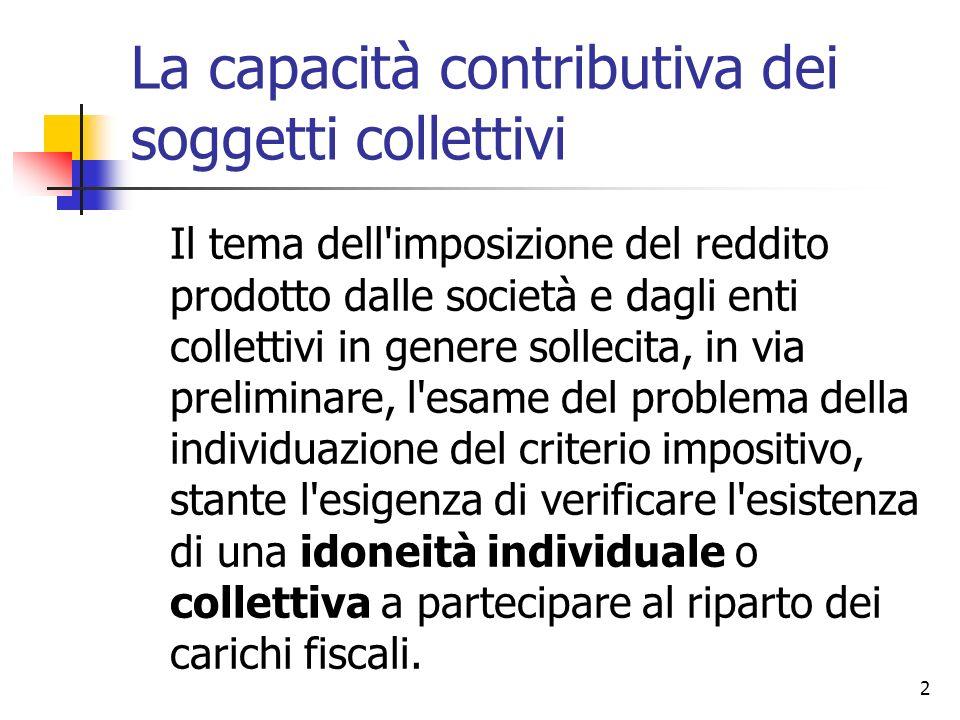 2 La capacità contributiva dei soggetti collettivi Il tema dell'imposizione del reddito prodotto dalle società e dagli enti collettivi in genere solle