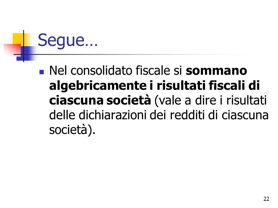 22 Segue… Nel consolidato fiscale si sommano algebricamente i risultati fiscali di ciascuna società (vale a dire i risultati delle dichiarazioni dei r