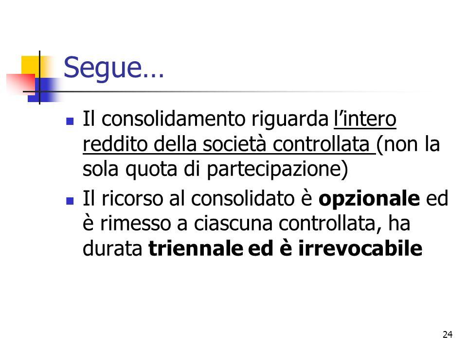 24 Segue… Il consolidamento riguarda l'intero reddito della società controllata (non la sola quota di partecipazione) Il ricorso al consolidato è opzi