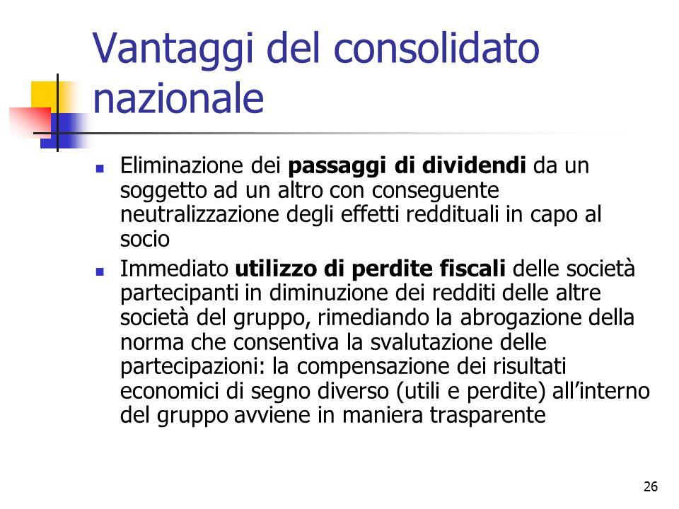 26 Vantaggi del consolidato nazionale Eliminazione dei passaggi di dividendi da un soggetto ad un altro con conseguente neutralizzazione degli effetti